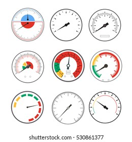 Manometer Temperature Gauge Devices Set. Vector