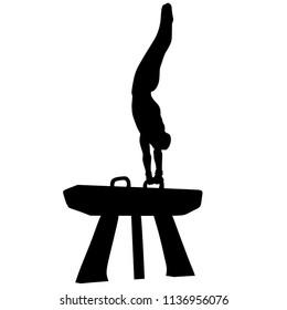 Man's Artistic Gymnastics, Silhouette on White Background