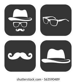 Man's clothes and accessories icons vector set on gray  buttons