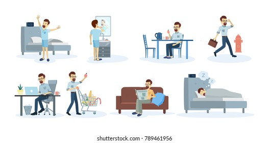 Man's daily routine at home and at work.