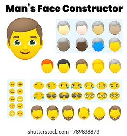 Man's Emoji Character Constructor. From Hipster to Grandfather. Cartoon Man's Face Parts, Creation Spare Parts. Emoji Style Faces. Vector Illustration