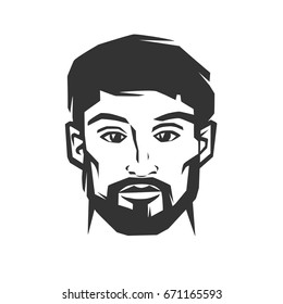 Man's face with beard. Black and white vector object.