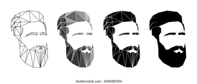 man's face with beard and mustache. polygon effect. set. for men's barbershop. icon, sign for men's beauty salon