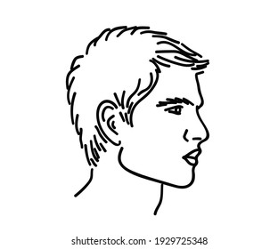 A man's face with beautiful cheekbones. Vector illustration.