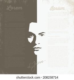 Man's face - half in light - half in dark - vector illustration