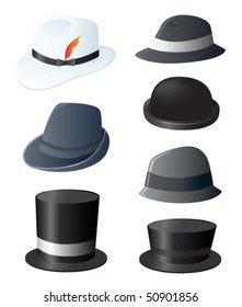 Man's fancy hat set. Vector.