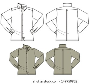 Man's fashion long sleeved shirt technical vector drawing