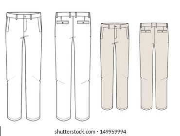 Man's fashion trousers technical vector drawing