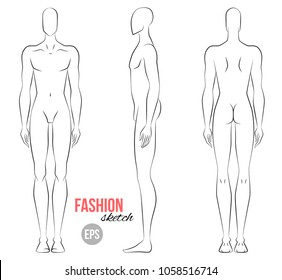Man's figure sketch. Different poses. Technical drawing. Vector outline boy model template for fashion sketching. Man's body. Fashion illustration.