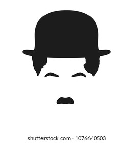 Man's hair, mustache and hat like Charlie Chaplin. Vector illustration. Vintage hairdresser's style for changing face or avatar. Black retro hairstyle contour isolated on white. Male silhouette.