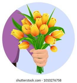 A man's hand gives a bouquet of yellow tulips. Flowers for the birthday, 8 March, Valentine's Day, anniversary. For gift cards, banners. Isolated on white background, vector illustration.