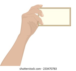 Mans hand holding a blank card or business card, vector illustration