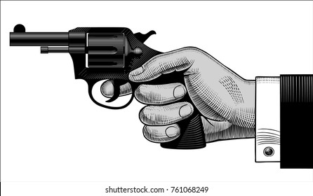 Man's hand holding a gun isolated on white. Detective and killer retro concept. Vintage engraving stylized drawing. Vector illustration