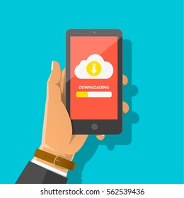 Man's hand holding smartphone with cloud, arrow and progress bar on the screen. Downloading information, file concept for web sites, web banners, infographics design. Vector flat cartoon illustration.