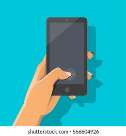 Man's hand holding smartphone with rings on the display. Finger touch screen concept. Flat vector cartoon illustration for web sites, banners, infographics design.