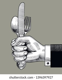 Man's hand holding spoon, fork and table knife. Vintage stylized drawing of cutlery set. Vector illustration