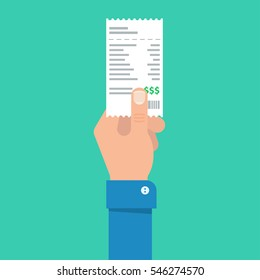 Man's hand holds the account or bill for payment. Getting the bill for services rendered. Banking and business operations.