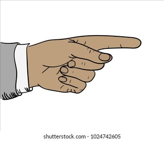 The man's hand. The index finger of the hand. The hand points ahead. Politician, boss. A man in a shirt and a jacket. Business illustration. Pop art drawing for business. Image of a hand.