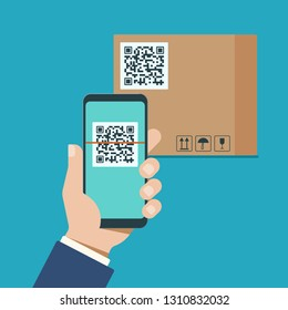 A man's hand with a modern smartphone scans qr code on a cardboard box. Vector illustration.