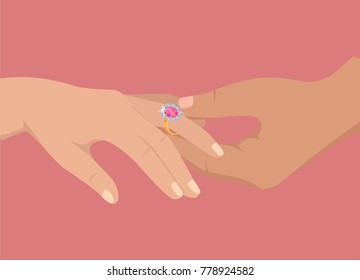 Mans hand puts gold engagement ring with big pink stone on womans finger isolated vector illustration on pink background.