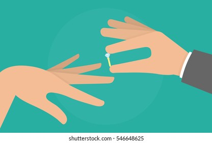 Mans hand putting a diamond ring on a woman s finger. Engagement concept
