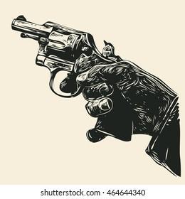 Man's Hand With A Revolver Pistol. Vector Illustration.