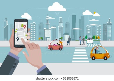 Man's hands with a smart phone with a location app. Roads with autonomous driver less cars and people walking on the street. In the background skyline skyscrapers.