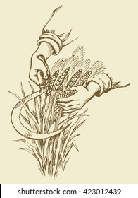 Man's hardwork palm collect by old metal falx ripe dry golden ear spica. Outline ink drawn picture sketch in art doodle retro style pen on paper. Closeup view and space for text on yellow background