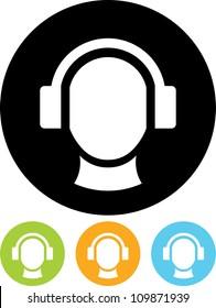 Man's head in headphones - Vector icon isolated