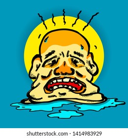 A man's head melting under hot weather for the medical concept of heatstroke. Hand drawn vector illustration.