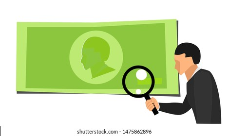 a man's right hand holding a lens loop is looking at a green symbol of money. Cartoons check the authenticity of money with a blank background. eps 10 vector file with objects separated by layers.