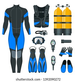 Man's Scuba gear and accessories. Equipment for diving. IDiver wetsuit, scuba mask, snorkel, fins, regulator dive icons. Underwater activity diving equipment and accessories. Underwater sport.