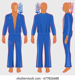 Man's silhouette  in ballroom dancing costume: long sleeve t-shirt outlined and flare pants (front, side & back view). Behind his shoulders is the electric feeler rake. Vector illustration