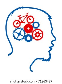 Man's silhouette with bicycle mechanism in his brain
