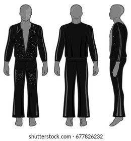 Man's silhouette  in black decorated costume: long sleeve t-shirt outlined and flare pants (front, side & back view). Vector illustration isolated on white background