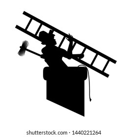 A mans silhouette with the chimney sweep tools in the pipe, set to work. Vector illustration for designers. Eps 10