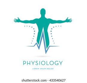 MAN'S SILHOUETTE WITH OPES ARMS, HEARTRATE, VECTOR LOGO / ICON, PHYSIOLOGY LOGO TEMPLATE, PHYSICAL THERAPY, ATHLETE HEALTH