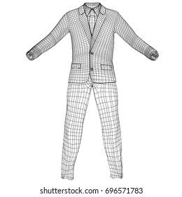 Mans suit in wire-frame style. Vector rendering of 3d