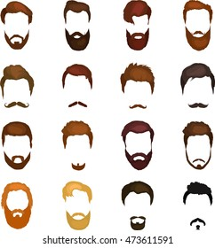 Mans trendy haircut types for barber shop. Isolated collection of  beards design icons .Hipster hair fashion vector illustration set. Modern Hairstyle head and mustaches