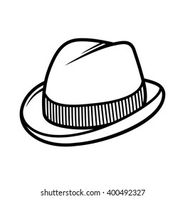 Mans Trilby Hat Icon Isolated on White Background. Vector