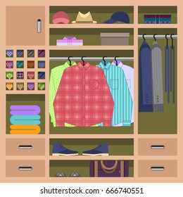 Man's wardrobe inside with everyday mans clothes hanging on hangrails. Closet filled with mans shirts, sweaters, ties, shoes and accessories. Flat style vector illustration.