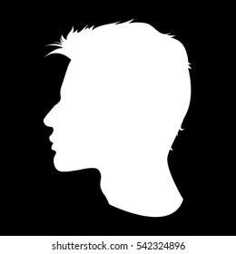 Man's white silhouette. A vector icon of a man's profile.