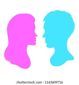 Man`s and woman`s face silhouette. Abstract logo concept, template. Vector illustration.