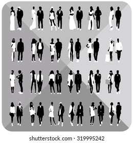 Mans and womans silhouettes isolated on white background.Set of vector silhouettes.Black silhouettes of beautiful people.Editable.Vector eps.