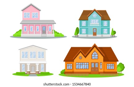 Mansions Set. Contemporary Colourful Buildings Vector Illustrated Concepts.