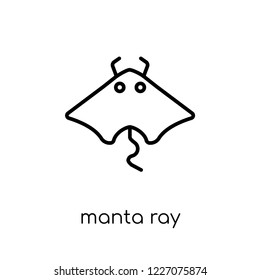 Manta ray icon. Trendy modern flat linear vector Manta ray icon on white background from thin line animals collection, editable outline stroke vector illustration