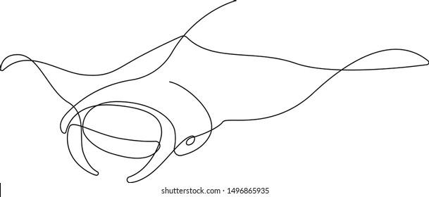 Manta-Röntgenbild, gezeichnet von einer Linie. Minimalistische Vektorgrafik