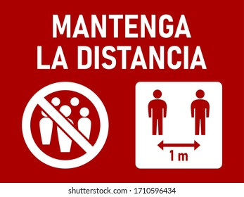 """Mantenga La Distancia (""""Keep the Distance"""" in Spanish) Social Distancing 1 Meter Instruction Icon against the Spread of the Novel Coronavirus Covid-19. Vector Image."""