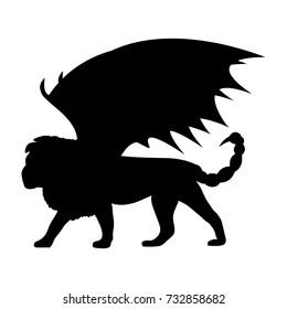 Manticore silhouette mythology symbol fantasy. Vector illustration.