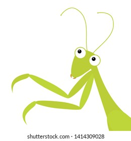 Mantis icon in the corner. Cute cartoon kawaii funny character. Green insect isolated. Praying mantid. Big eyes. Smiling face, legs. Flat design. Baby clip art. White background. Vector illustration